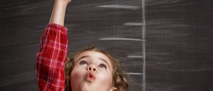 beauty child at the blackboard